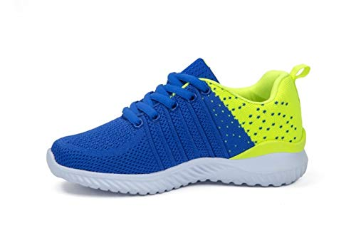 Pictures of Kids Athletic Tennis Shoes - Little Kid Sneakers with Girl and Boy Sizes Blue/Green Size 1 Little Kid (Azul/Verde - 32) 1 M US 8