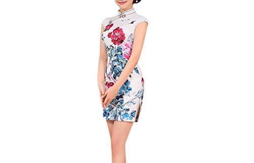 Luck Femme Cheongsam Chinois Jupe Courte Imprimé en Polyester