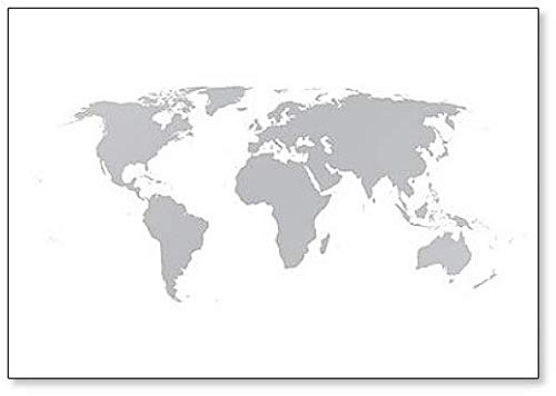 (Grey Map Of The World - Classic Fridge Magnet)