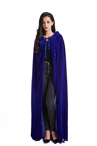 Crizcape Unisex Halloween Costume Cape Hooded Velvet Cloak for Men and Womens Blue]()