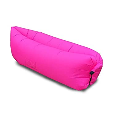 Vetroo Outdoor Inflatable Hangout Portable Bag Lounger - RED/HOT PINK - Made with High Quality Nylon Fabric - Suitable For Camping, Pool, Beach Couch Sofa, Dream Chair Garden Cushion, Sleeping Air Bed