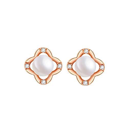 - Pearl Stud Earrings Freshwater Cultured Womens Jewelry Sterling Silver Dangle Earrings Hypoallergenic for Sensitive Ears Round White Gold Diamond Cubic Zirconia Drop Earrings Teen Girls Fashion Gift w