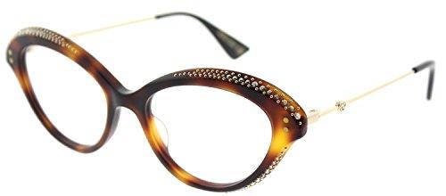 Gucci GG 0215O 002 Havana Plastic Cat-Eye Eyeglasses 51mm