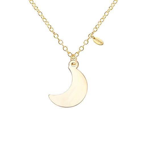 SENFAI Charm Irish Celtics Moon Necklace Elegant Crescent Moon Necklace Plain Half Moon Pendant Necklaces
