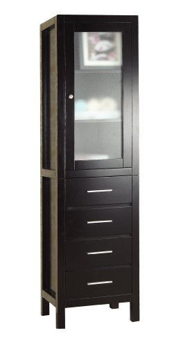 Virtu USA MDC-5120 Wellmont Vanity Side Cabinet, 19.7-Inch Wide, 15.7-Inch deep, 71.5-Inch High, Espresso Finish by Virtu USA