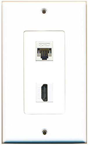 Off Hdmi White Cable (RiteAV - 1 Cat5e Ethernet and 1 HDMI Decorative Wall Plate - White)