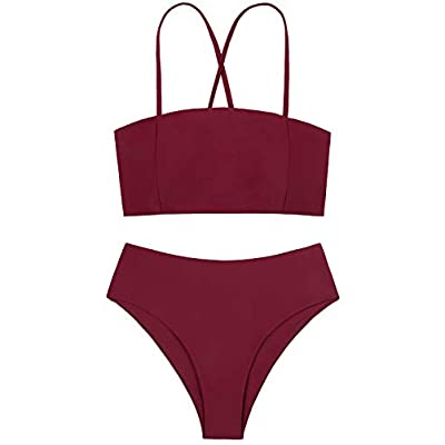 Nuoyanmei Bikini Set Straps Removable Padded Bandeau Two Piece High Waist Bathing Suits for Women: Clothing