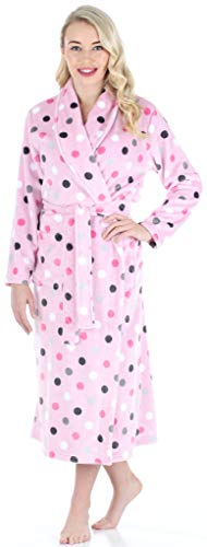 PajamaMania Women's Sleepwear Fleece Long Robe Pink Dot ()