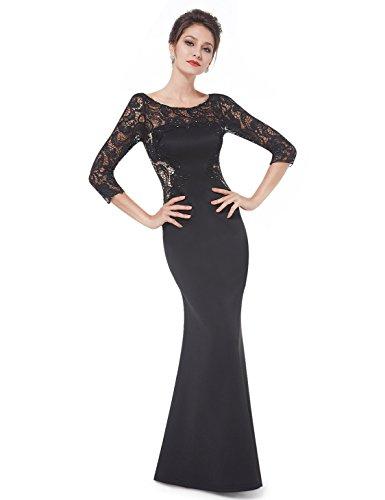 Ever Pretty Robe de Soiree Longue Elegante en Lace avec Stras Manches 3/4 06UK Noir