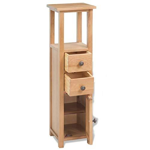 """2 Drawer,1 Door Corner Slim Cabinet Solid Oak Wood Storage Cabinet Corner Kitchen Pantry Dining Organizer Cupboard Furniture 10.2""""x10.2""""x 37"""" Brown"""