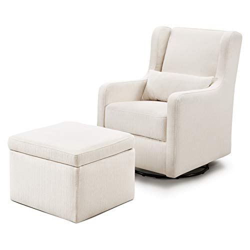 Carter's By Davinci Adrian Swivel Glider With Storage Ottoman In Cream Linen, Water Repellent And Stain Resistant Fabric, Greenguard Gold Certified