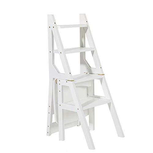 ZGQA-AOC Blanco Escalera de madera Silla plegable de multiples funciones del Ministerio del Interior Biblioteca 4 Pasos Estanterias Escalera Flower Stand taburete escaleras