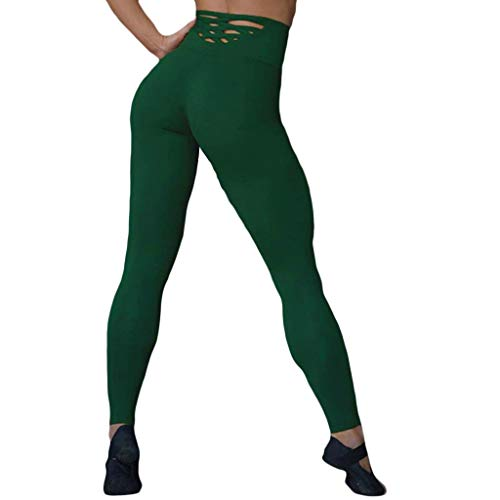 Nadition Women Sports Leggings  Ladies Solid Stretch Hip-Lifting Exercise Trouser with Hollow Tight Running Yoga Pant Green (Best Exercise To Trim Hips)
