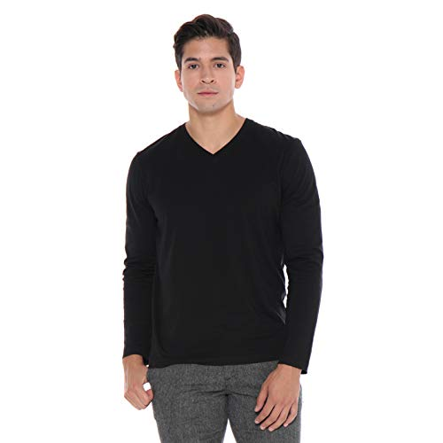 Men's Designer T-Shirt Lightweight Semi Fit Long Sleeve V-Neck 100% Organic Cotton Pre-Shrunk Embroidered - Made in USA (Black, XX-Large)
