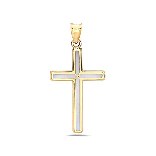 (PORI JEWELERS 14K Yellow Gold with Mother of Pearl Cross Pendant for Women (Plain Cross))