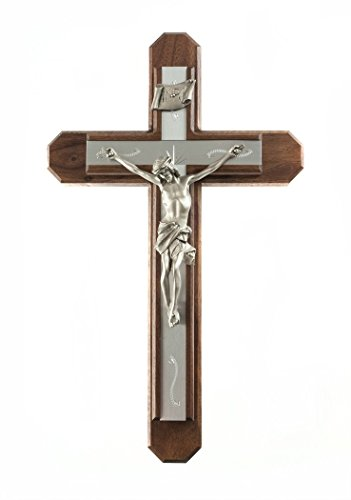 Pastoral Sick Call Set Walnut Wood Crucifix with Metal Inlay Cross, 15 Inch by Walnut Sick Call Set