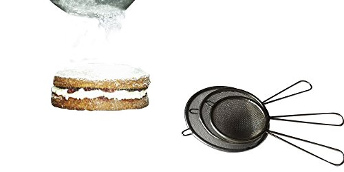 Stainless Steel 3 Piece Mini Strainer and Sifter Set Kitchen Cook and Bakeware Utensils Multiple Sizes for Multiple Uses Baked Goods Handles Mesh Net