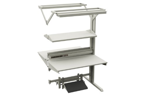 """Sovella 14-C12541320 TL Advantage Laminate Steel Double Sided Add On Workstation with Shelf, 880 lbs Capacity, 48"""" Width x 75.59"""" Height x 30"""" Depth, Grey"""