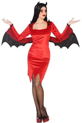Ladies Red Sultry Sexy Devil Demon with Wings Spooky Creepy Halloween Carnival Fancy Dress Costume Outfit UK 8-18 (UK 12-14) -