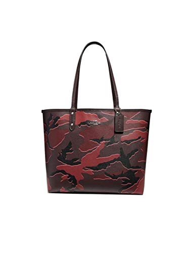 COACH REVERSIBLE CITY TOTE WITH WILD CAMO PRINT BURGUNDY MULTI/SILVER