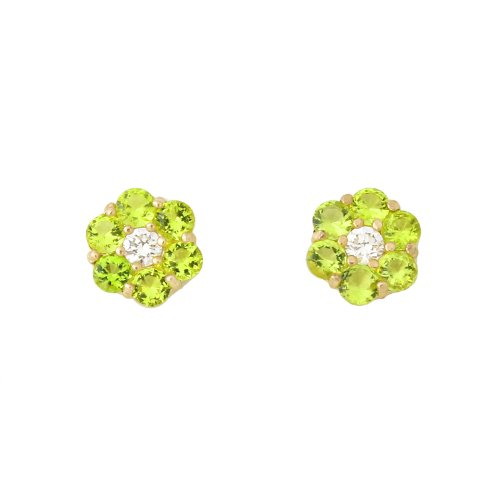 14k Yellow Gold Simulated Birthstone and Cubic Zirconia Flower Stud Earrings -August - Simulated Peridot