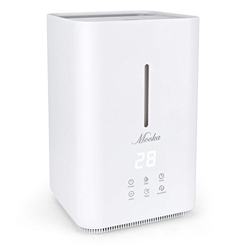 Sensor Wind Ultrasonic (Mooka Ultrasonic Cool Mist Humidifier - 4L Large Capacity, Top Fill Water, Humidity Sensor, Timer, Whisper-quiet Operation with Adjustable Mist Mode for Home, Office, Bedroom, Baby room, White - Grey)