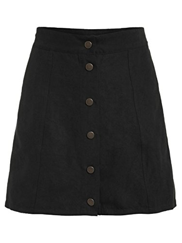 MakeMeChic Women's Casual Faux Suede Button Front A Line Mini Skirt Black M