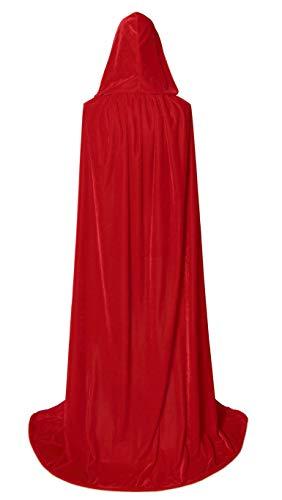 BIGXIAN Extra Long Hooded Velvet Cloak Halloween Christmas Fancy Cape red -
