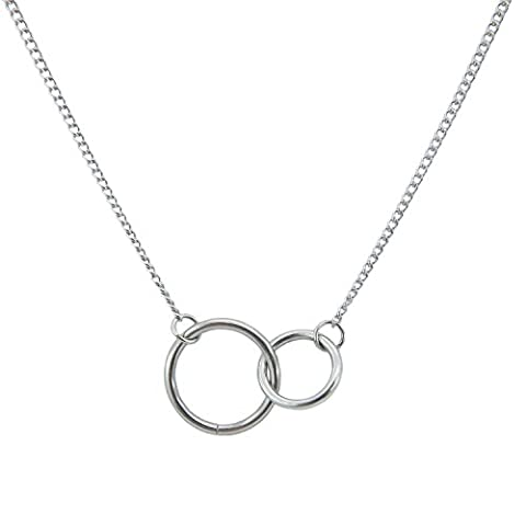 Silver Double Circle Necklace Stainless Steel - Silver Double Circle Necklace