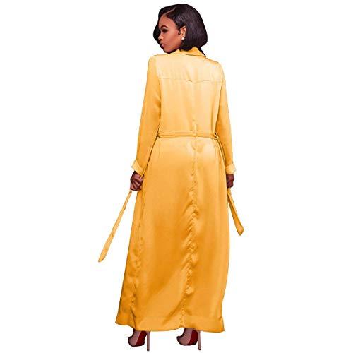 Fit Cinturón Manga Color Casual Retro Sólido Cardigan Con Otoño Moda Mujer Parkas Primavera Gabardina Largos Elegante Abrigos Gelb Larga Slim Outerwear 4qnwT8Z