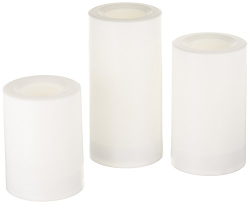 Inglow Flameless Round Outdoor Candles with Timer, White, Set of 3 (Outdoor Flameless Candles)