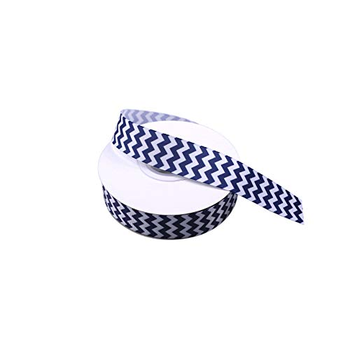 Blue and White Grosgrain Ribbon Chevron Swirls Waves Pattern Ribbonfor DIY Handmade Hair Bow Clip Accessories Festival Wedding Party Birthday Bridal Shower Decoration 1