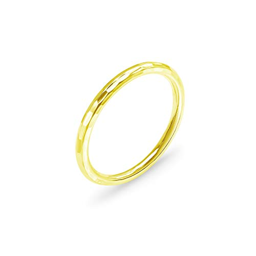 Yellow Gold Flashed Sterling Silver Polished Hammered Stackable 2mm Wedding Band Ring | -
