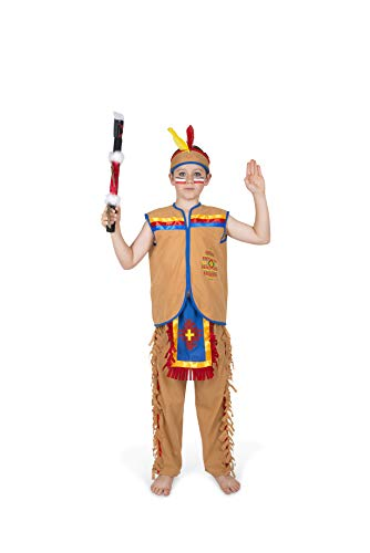 Boy's Indian Chief Costume, for Halloween Costume Party Accessory, Medium Brown