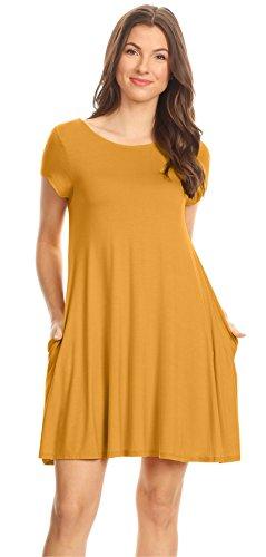 (Gold Mustard Summer T Shirt Dresses for Women Plus Size and Regular Casual Tee Shirt)