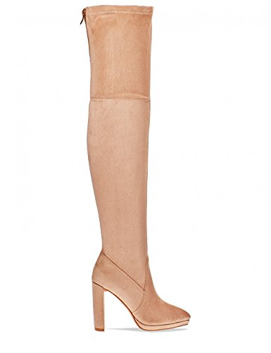 LAMODA Womens Thigh High Boots with Zip Detail in Faux Suede Nude j97tnj
