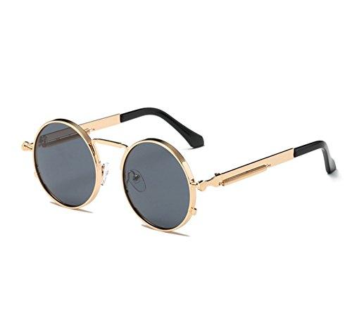los la sol vendimia redondas Oro del vidrios hippy Gris conduce de Steampunk redondo Gafas marco del clásico de de UV400 que a7OwFF5q
