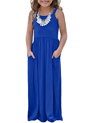 (AlvaQ Girls Cap Summer Soft Long Sleeve Maxi Dress Casual Size 4-6 Blue)
