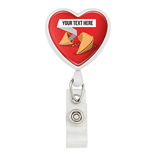 Personalized Custom Fortune Cookie Heart Lanyard Retractable Reel Badge ID Card Holder - - Fortune Cookie Card