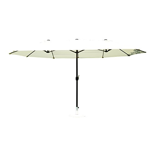 Outsunny 15' Outdoor Patio Market Double-Sided Umbrella - Cream White and Brown by Outsunny
