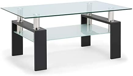 Rectangle Clear Glass Coffee Table for Living Room and Office 39.7, Clear