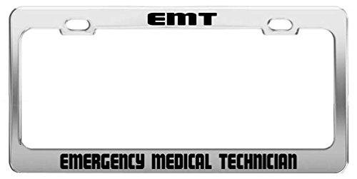 Emt License Plates (Nicholas Dunlop EMT EMERGENCY MEDICAL TECHNICIAN Job Occupation Profession License Plate Frame)