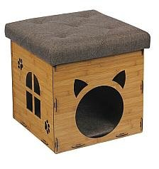 SULIT Folding Storage Ottoman, Great Design Foldable Pet House for Cat and Dog, Wooden Seat (OAK)