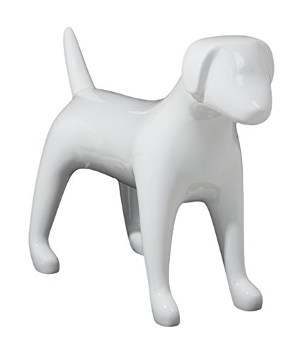 Newtech Display MA-DOG3MD/SWHT Medium Terrier Dog Mannequin, 18'' Height, 24.5'' Large, Glossy White by Newtech Display