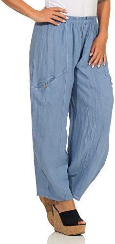 Mississhop Pantalon bouffant pour les loisirs, les ballons, les ballons, les aladins et l'été 100 % lin uni - Bleu - taille unique