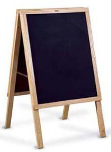 Marsh Industries Er-272-200N 36X22 Oak Wood Trim Chalkboard With Blank Cb Café Sidewalk Sign - Black by Marsh Industries