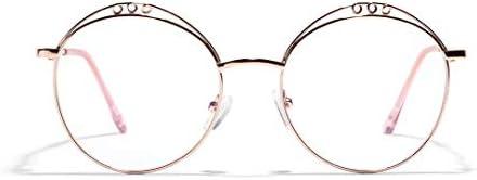 LIUYALE Durchbrochene Retro runde Brille Anti-Ermüdung der Augen mit hohen Dichte Schutz der Augen Leicht Metall Klein Feld-Spiegel Brillenfassungen (Color : Rose Gold)