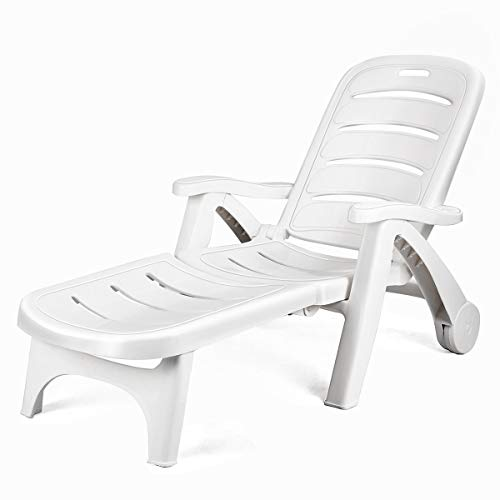 COSTWAY Folding Chaise Wheels Outdoor Patio Deck Chair Adjustable Rolling Lounger 5 Position Recliner w/Armrests, White