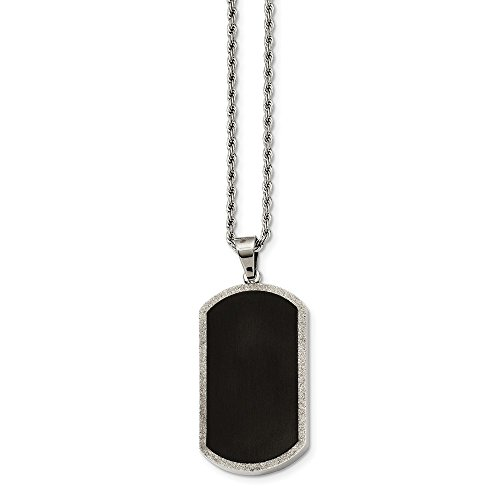 ICE CARATS Stainless Steel Black Plated Dog Tag Chain Necklace Man Pendant Charm Dogtag Fashion Jewelry Gift for Dad Mens for Him]()