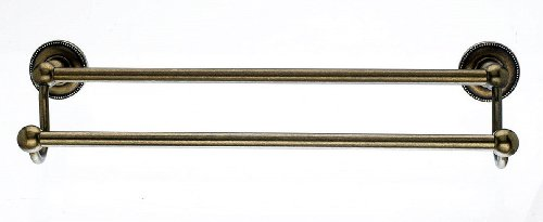 Top Knobs ED7GBZA Bath Edwardian Collection 18 Inch Double Towel Bar with Beaded Backplate, German Bronze Finish